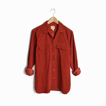 Vintage Corduroy Boyfriend Shirt in Autumn Rust - women's large