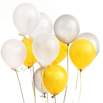 PuTwo Balloons 12 Inch 100 Pcs Gold and White Pearlised Balloons Latex Balloons Helium Balloons Party Supplies for Wedding Birthday Christmas Baby Shower - Gold, White, Grey, with FREE Ribbon
