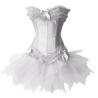 Kranchungel T070 Satin Corset Bustier Mini Tutu Petticoat Skirt Fancy Dress Costume 2X-Large White