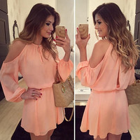 New Arrival 2015 Autumn Fashion Women chiffon Dress sexy o-Neck Long Sleeves Asymmetrical Casual Mini Dress summer Strapless backless dress Women Clothes Vestidos = 5738156545
