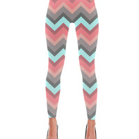 Aqua Lava Chevron Pattern Print Leggings