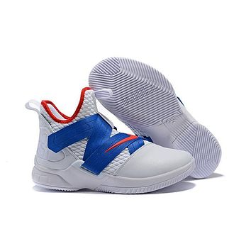 Nike Lebron Soldier 12 White/royal Blue/red Basketball Shoe Us7 12 | Best Deal Online