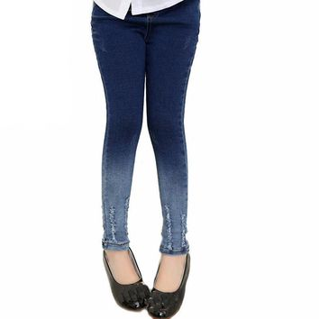 Girls Elastic Waist Skinny Denim Jeans