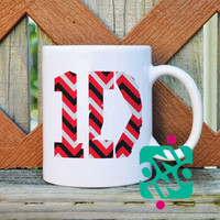 1D One Direction Logo on Red Chevron Coffee Mug, Ceramic Mug, Unique Coffee Mug Gift Coffee