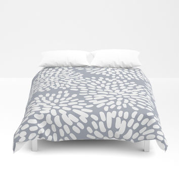 Grey and White Abstract Firework Flowers Duvet Cover by Elizabeth Schulz