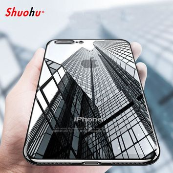 Shuohu Transparent Silicon Phone Cases for Iphone 7 6 6S Plus Case Luxury Ultra Thin Coque for Iphone 5 5S SE Case Silicone