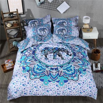 Bohemian Print Bedding Set Exotic Mandala Elephant Duvet Cover Set and Pillowcase Twin Queen King Size 2/3/4 Pieces Special Gift