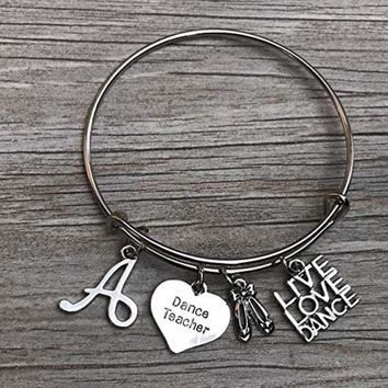 Personalized Dance Teacher Bangle Bracelet