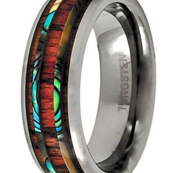CERTIFIED 8MM Tungsten Ring Abalone Hawaiian Koa Wood Wedding Band