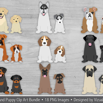 Dog and Puppy Clip Art Bundle, Digital Puppy Dogs, Cute Hand Drawn Pet Clipart Of Popular Dog and Puppy Breeds, Pet Scrapbook Clipart Images