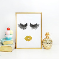 Makeup Gold Foil Print Art Design Sign Picture Vanity Makeup Room Bathroom Believe LOVE Lashes Eyelashes GLAM Falsies Makeup Face Gold lips