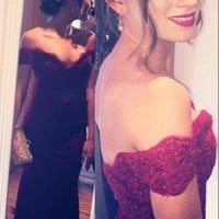 Hot Selling Beautiful Mermaid Lace Appliques Wine Red Prom Party Gowns Maroon Prom Dresses