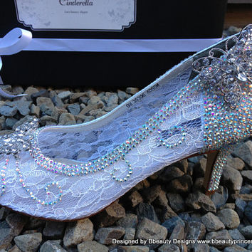 Cinderella Fantasy Lace Couture Slippers Style Adult Wedding Pair Pumps Heels Shoes Custom Made