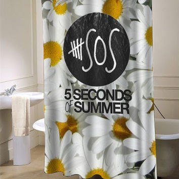 5sos sun flower shower curtain customized from for Room decor 5sos
