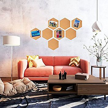 Famistar Hexagon Cork Board Tiles,Mini Wall Bulletin Boards,Pin Board-Decoration for Pictures,photos,Notes,Goals,Drawing,Painting,8 Pack Bonus 50 Pins