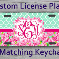 Custom Monogrammed personalized license plate. Blue Quatrifoil Lily Pulitzer Roses inspired Vanity car tag #1110