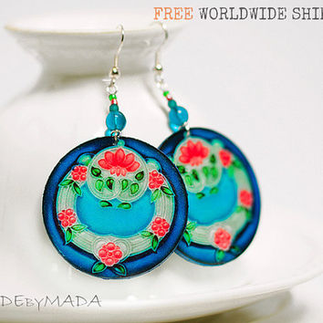 Blue & Mint Dangle Earrings Free Shipping Round decoupage earrings Art Nouveau Ornament  ,  gift for her under 25