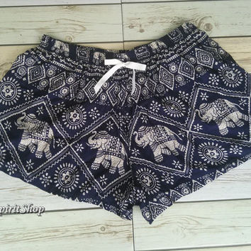 Elephant  Aztec Ethnic Print Summer Beach Shorts Boho Chic Tribal Fashion Clothing Bohemian Ikat Boxers Cute Women Unique items in Dark Blue