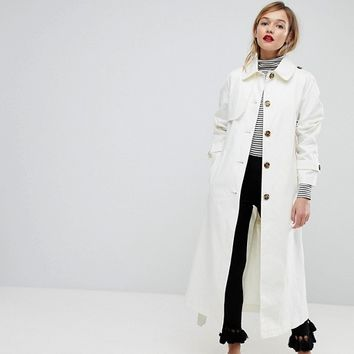 ASOS Single Breasted Oversized Trench at asos.com