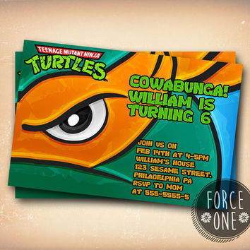 Teenage Mutant Ninja Turtle Mike Eye-Birthday Invitation-Birthday Party-Colorfull Invitation