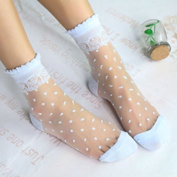 2 Pairs/Lot Ladies Japan Restoring Style Dots Lace Blink Socks Female Thin Transparent Crystal Glass Tube Meias Lady College Bas