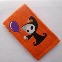 Grim Reaper with Balloon Embroidered Halloween Dish Towel