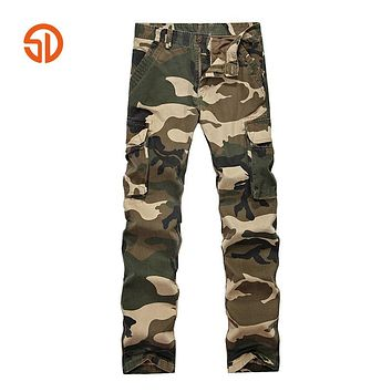 Camouflage Tactical Pants Men Fashion Cargo Pants Male Casual Cotton Multi Pockets Long Trousers