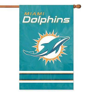 Miami Dolphins 2-sided 28x44 Premium Embroidered Applique Banner Flag Football