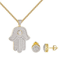Hamsa Hand Evil Eye Pendant Iced Out 14k Gold Finish Earrings Stud Chain Combo