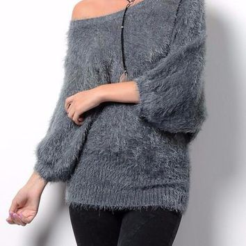 Chloe Soft Furry Sweater (Misty Blue)