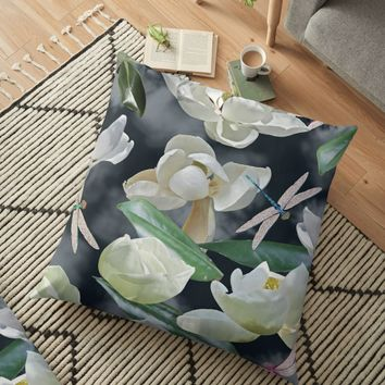 'Magnolias and Dragonflies (Dark Clouds)' Floor Pillow by RoxanneG
