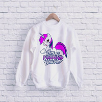 I'm a Fucking UNICORN UNISEX SWEATSHIRT heppy fit & sizing