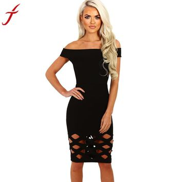 Women Off Shoulder Boat Neck Hollow Bodycon Hollow Out Ladies Caged Sleevlees Mini Dress vestidos#LSN