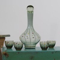 Hand Blown Oghi Decanter Set with 4 Glasses Stripes and Colored Spots Armenia Vintage