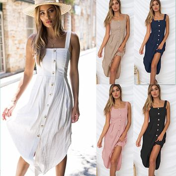 Off Shoulder Dress Women Button Mermaid Solid Color Clothes Sleeveless Strapless Button Camisole Dress Woman S-XL