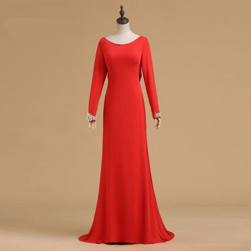 Backless Long sleeve gown evening long dresses