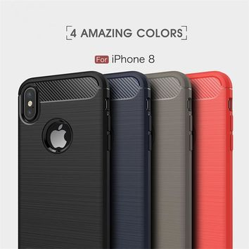 Luxury Hybrid Slim Rugged Armor Case for iPhone 8 7 6 6S Plus Carbon Fiber Brushed Soft Silicone Back Cover For iPhone X 5 5S SE