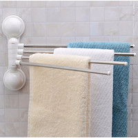 180 Degree Stainless Steel Tube Rotating Towel Bar Bathroom Towel Rack Towel Hanging Towel Rod with Strong Suction Cups