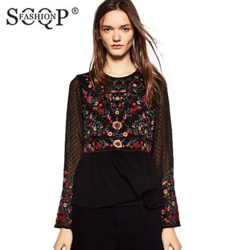 SCQP FASHION Embroidered Mesh Women Blouses Crochet Vintage Loose Ruffles Ladies Shirts Elegant Long Sleeve Floral Pattern Tops