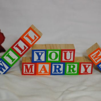 Will You Marry Me - Custom Painted Wooden Alphabet Blocks - Wedding and Marriage Proposal