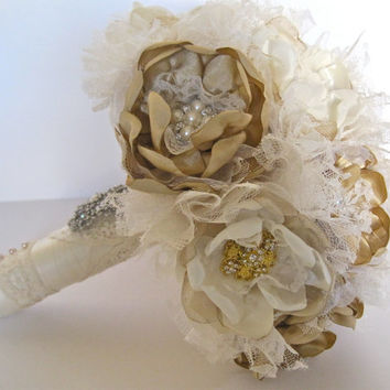 Wedding Bouquet Vintage Inspired Fabric Flower Brooch Bouquet in Ivory and Gold Champagne with Pearls Rhinestones and Lace Custom Made
