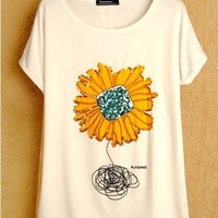 Summer new, love only ladies top, sunflower print