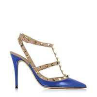 Valentino Designer Shoes Rockstud Light Sapphire & Powder Leather Ankle Strap Pump