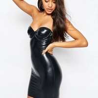 ASOS | ASOS Kim Latex Underwire Mini Slip Dress at ASOS