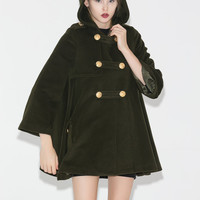 Army Green Winter Cape - Hooded Military Style Cape Cloak Fully Lined Short Length Poncho Womens Outerwear C681