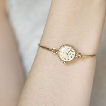 Lady's Watch Ring Bracelet, Women's Wristwatch Round, Gold Plated Women's Watch, Tiny Cocktail Watch, Delicate Womens Watch Bracelet Gift