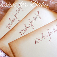 Wishes for Baby - Baby Wish Card / Advice Card - Vintage Edge, 4 x 6 Ivory Card - Set of 10