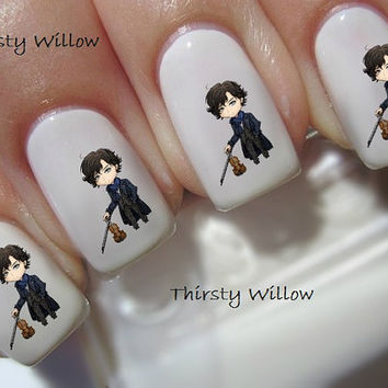 Chibi Benedict Cumberbatch As Sherlock Holmes Chibi Waterslide Nail Decals Water Transfers