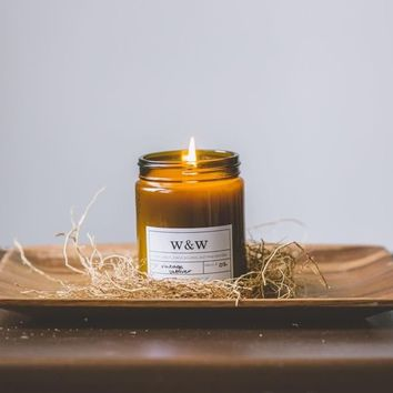 Vintage Vetiver- 9 oz Pure Soy Wax Candle (Amber Jar)