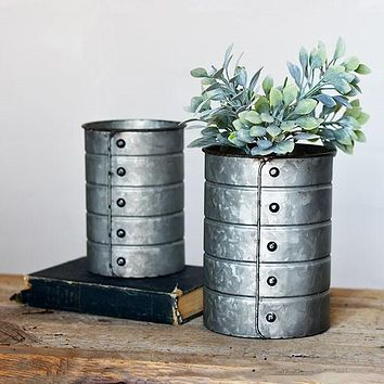 Set of 2 Rivet Tin Can Containers